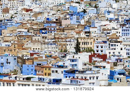 Buildings in the town of Chefchaouen in Morocco