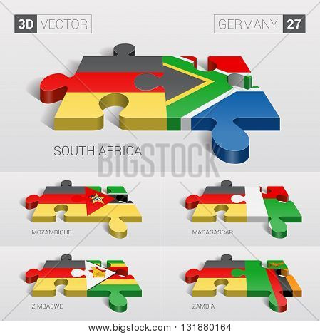 Germany and South Africa, Mozambique, Madagascar, Zimbabwe, Zambia Flag. 3d vector puzzle. Set 27.