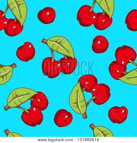 Seamless pattern with cherry. Food picture. Vector cartoon-style cherries on blue background.
