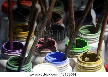 Painting set, brushes, paints, watercolor, acrylic paint