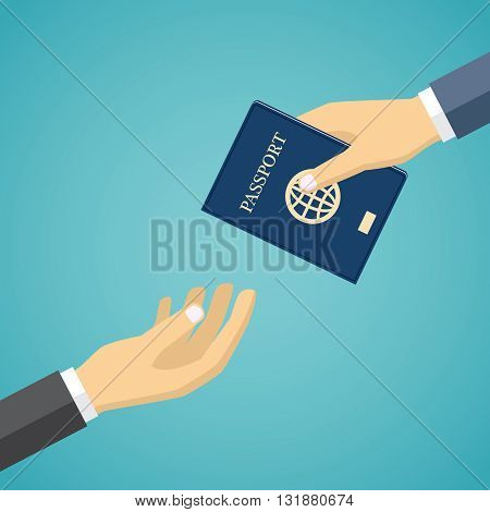 Businessman hand receiving passport from another hand.