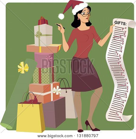 Holiday shopping. Stressed woman in a Santa hat crossing out names from a long Christmas shopping list, pile of gifts at her feet, vector cartoon