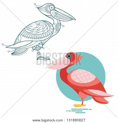 Bird pelican. Flat icon and template for adult coloring zen tangle. Set of vector animals in different unusual style. Illustration collection of nature objects isolated on white background.