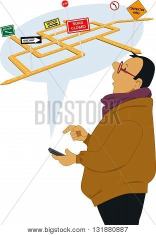Man receiving traffic alert on a cell phone, vector illustration