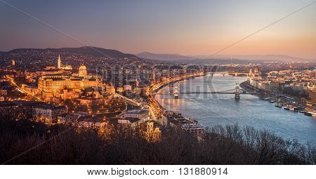 Panoramic View of Budapest and the Danube River as Seen from Gellert Hill Lookout Point. Smooth Transition Between Night and Day