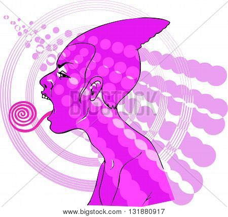 Abstract composition with a pink profile of a yelling girl sticking her rolled long tongue
