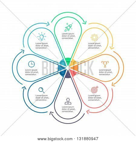 Linear infographics. Business diagram with 8 steps. Vector template.