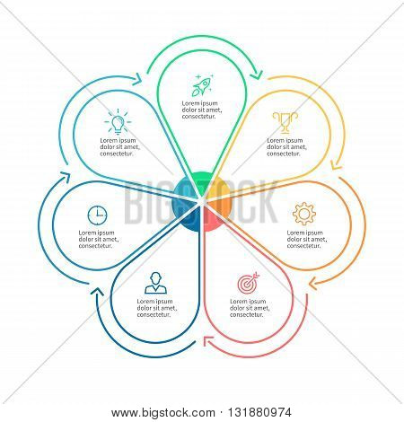 Linear infographics. Business diagram with 7 steps. Vector template.