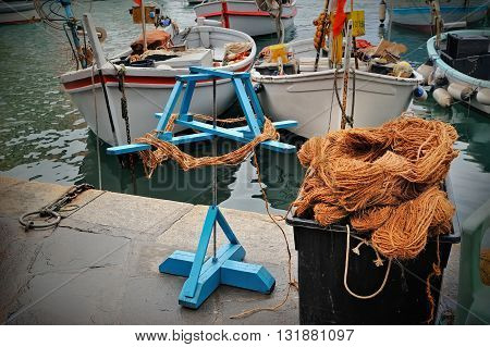 Fishing tackle and cord in port Camogli, Italy