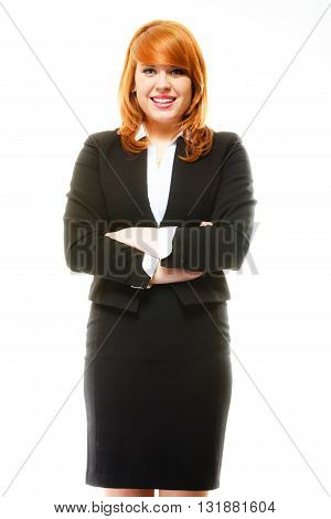 Portrait of beauty redhair smiling business woman or student girl standing with crossed arms. Isolated on white background