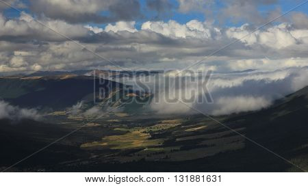 St Arnaud on a cloudy day. View from Mt Robert New Zealand.