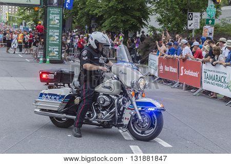 May 28, 2016 - Ottawa, Ontario - Canada - City of Ottawa police officer on a motorbike
