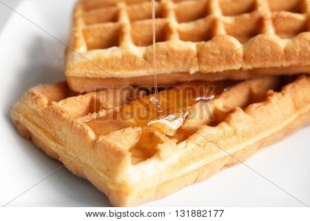 Tasty waffles with honey on plate, closeup