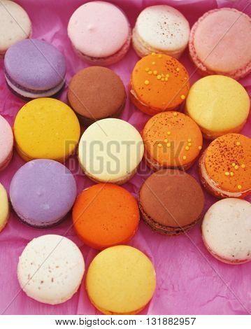 Colorful macaroons in box, closeup