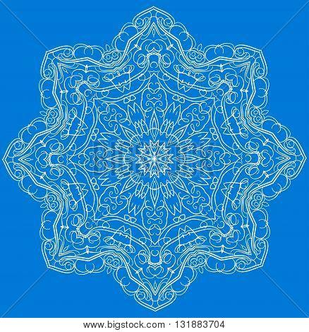 Mandala or snowflake for design, birthday mandala and other holiday mandala or snowflake, kaleidoscope mandala,  medallion mandala, yoga, india, arabic mandala. Geometric circle mandala