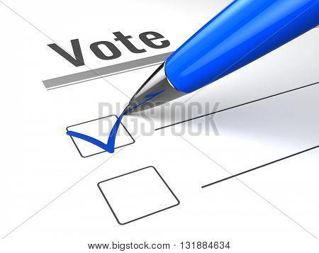 Blue pen and check mark on vote checkbox3d render
