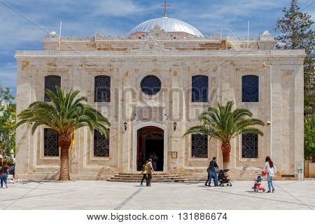 Heraklion, Greece - April 24, 2016: The Christian church of St. Titus in the center of Heraklion. Crete's population is mostly Orthodox.