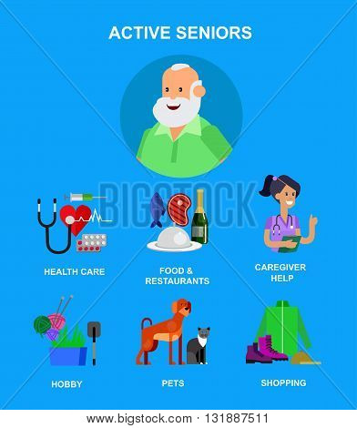 vector detailed character senior, senior age. Old age man and icons. Pension hobbies and interests leisure of pensioner