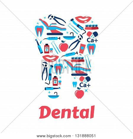 Dentistry and dental care icon with silhouette of tooth, composed of dentist tools, toothbrushes and toothpastes, braces, syringes and medicine bottles, healthy teeth, smiles and apples. Flat style
