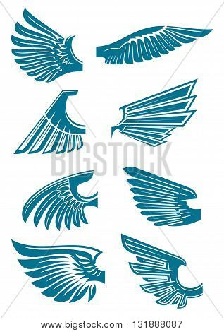 Open bird wings icons for heraldic symbol or tattoo design usage with medieval stylized blue silhouettes of eagle, hawk or falcon wings