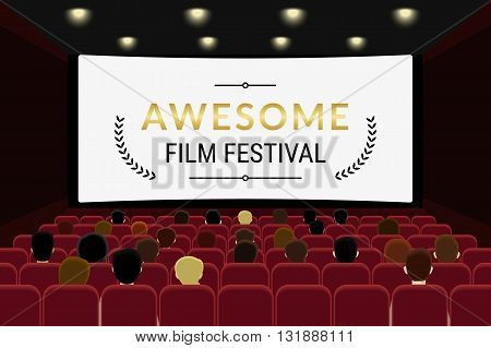 People sitting in the cinema hall and watching film in the cinema. Flat illlustration of film festival template design with copy space on the cinema screen
