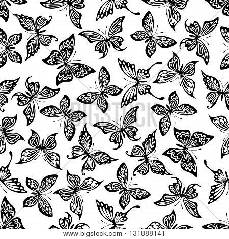 Decorative flying butterflies seamless pattern with openwork black silhouettes of monarch and swallowtail butterflies randomly scattered over white background.