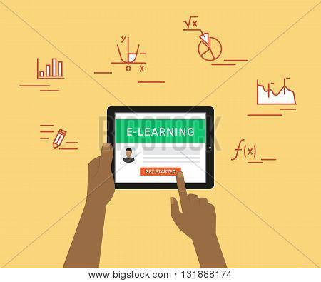 E-learning flat concept illustration of human hand using tablet pc for distance studying and education. Man holds in his hand black tablet pc and getting started distance education on website