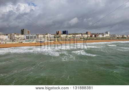 Panorama Brighton on a cloudy day East Sussex United Kingdom