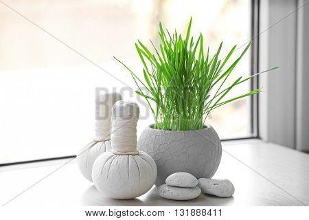 Spa composition on windowsill, indoors
