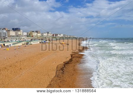 Brighton beach on a windy day United Kingdom