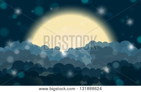 Cartoon Cyan Night Shining Cloudy Sky With Moon. Vector Illustration