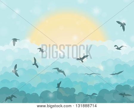Cartoon Flying Birds In Clouds On Sun And Cyan Shining Sky Background. Vector Illustration