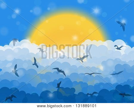 Cartoon Flying Birds In Clouds On Sun And Blue Shining Sky Background. Vector Illustration