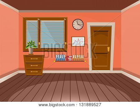 Cartoon Flat Vector Interior Office Room In Peach Blossom Style. Vector Illustration