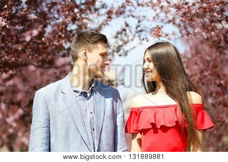 Young loving couple in spring time