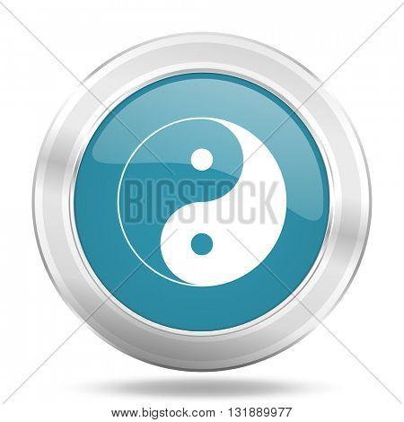 ying yang icon, blue round metallic glossy button, web and mobile app design illustration