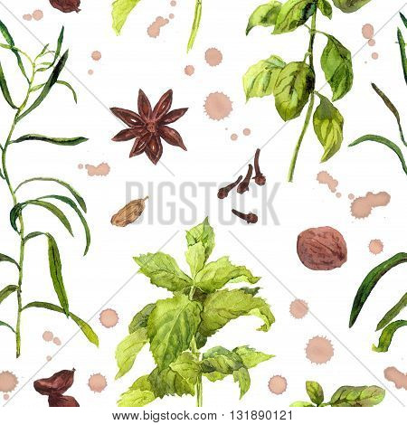 Species and herbs for cooking. Seamless watercolor pattern.
