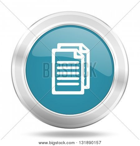 document icon, blue round metallic glossy button, web and mobile app design illustration