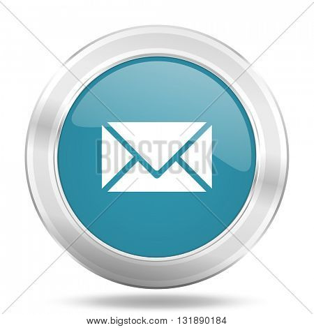 email icon, blue round metallic glossy button, web and mobile app design illustration