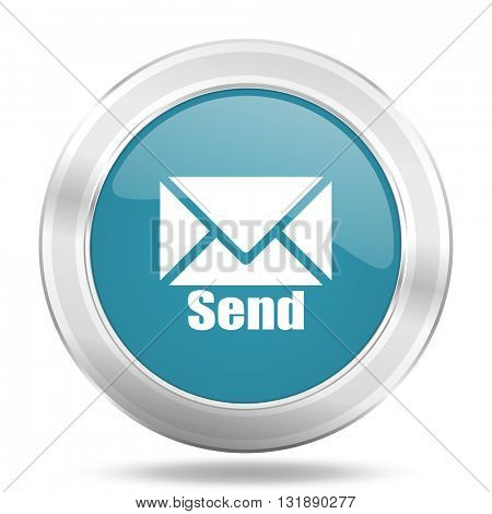 send icon, blue round metallic glossy button, web and mobile app design illustration
