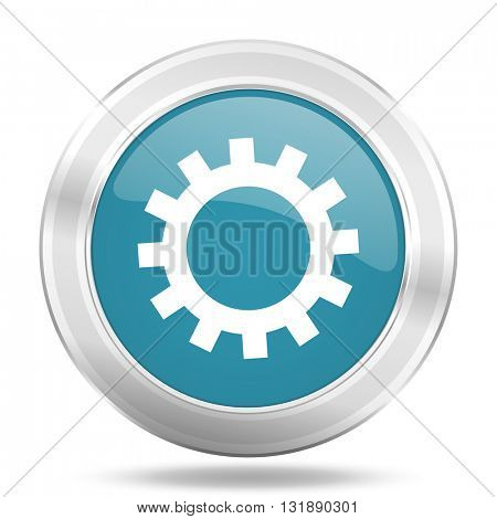 gear icon, blue round metallic glossy button, web and mobile app design illustration