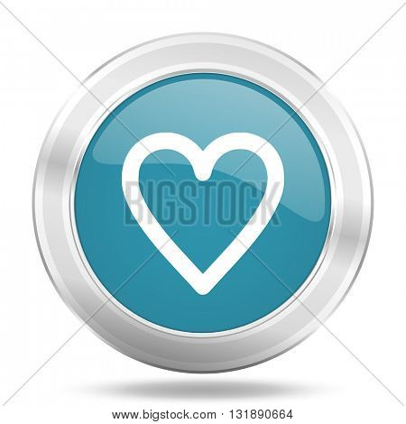 heart icon, blue round metallic glossy button, web and mobile app design illustration