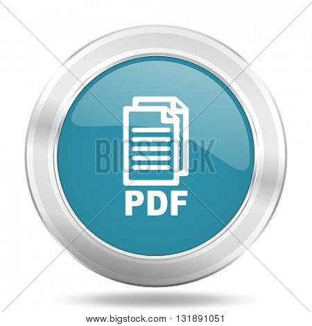pdf icon, blue round metallic glossy button, web and mobile app design illustration,