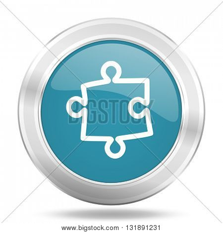 puzzle icon, blue round metallic glossy button, web and mobile app design illustration