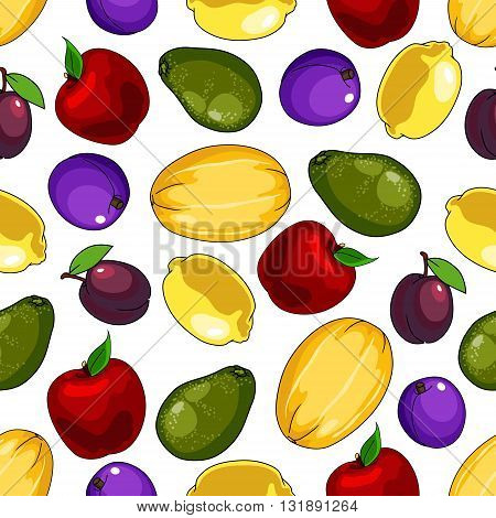 Seamless fresh fruits pattern over white background for kitchen interior or organic farming design with yellow lemons and cantaloupes, blue and purple plums, red apples and green avocados