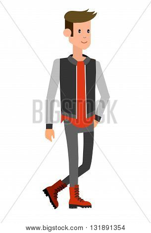 Vector detailed characters men, business men. Character creative man or student, tourist  illustration, business people lifestyle isolated on white background