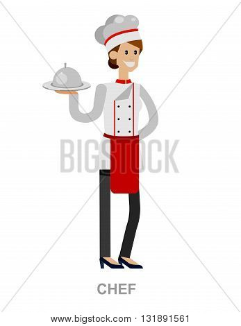 Vector detailed character people, character woman Chef. Restaurant team people character. Vector restaurant illustration