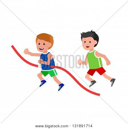Cute vector character child playing football, basketball, a child playing with a kite, a child runs. Cheerful child. Happy boy kid illustration. Detailed character child