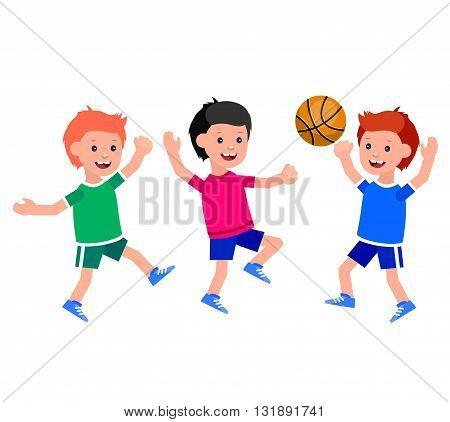Cute vector character child playing basketball, child runs. Cheerful child. Happy boy kid illustration. Detailed character child. Happy boy kid illustration. Detailed character child