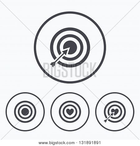 Target aim icons. Darts board with heart and arrow signs symbols. Icons in circles.